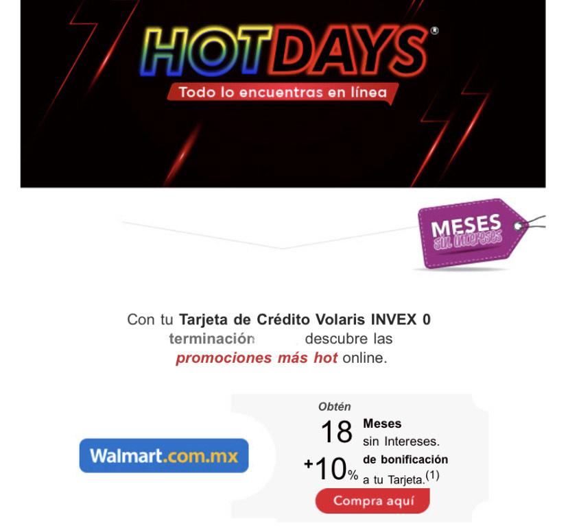 Invex: 18 msi y 10% de bonificación en Walmart