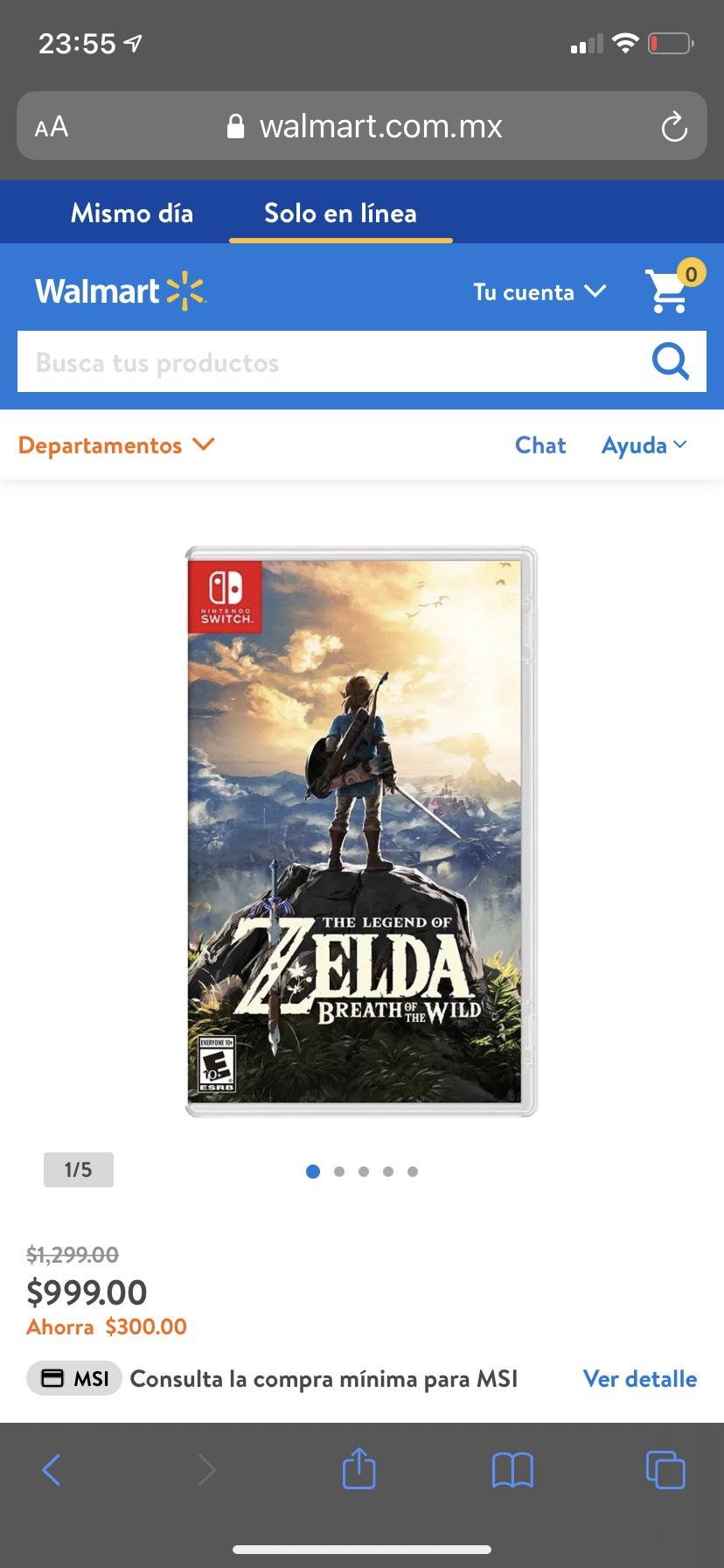 Walmart: Zelda Breath of the Wild Nintendo Switch