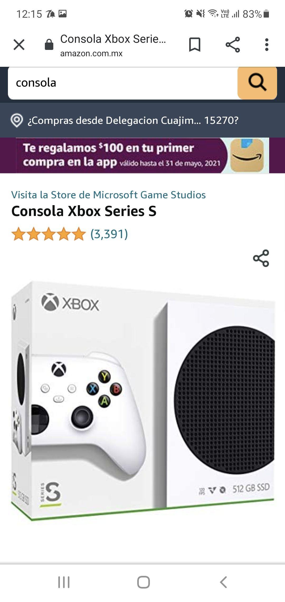 Amazon: consola xbox series s con TDC HSBC MSI