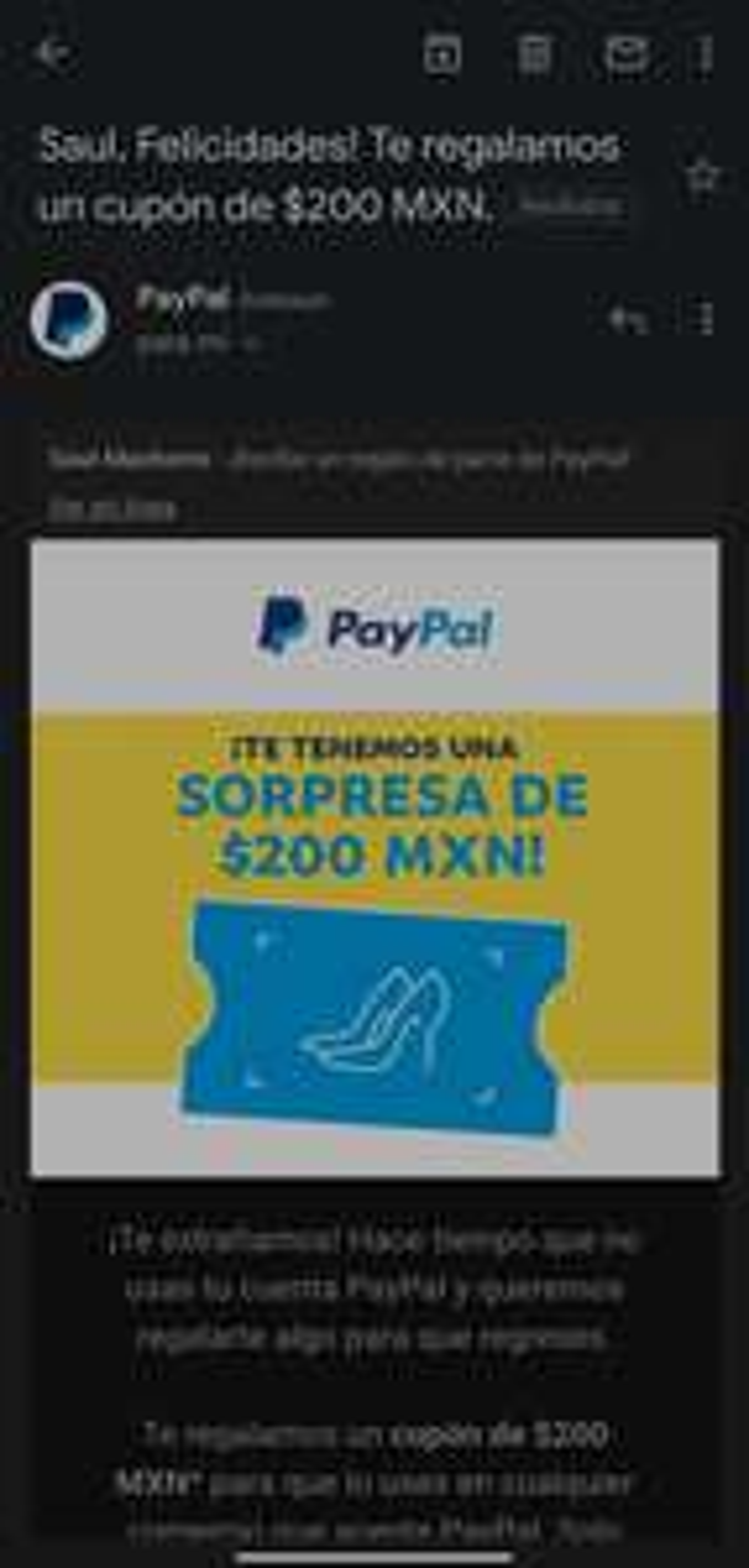 PayPal: 200 pesos en cupón (usuarios seleccionados)