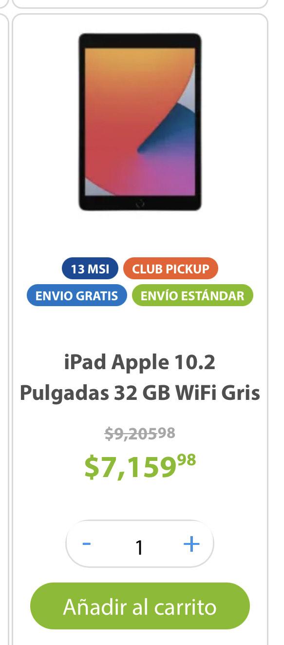 Sam's Club: iPad Apple 10.2 Pulgadas 32 GB WiFi Gris Espacial