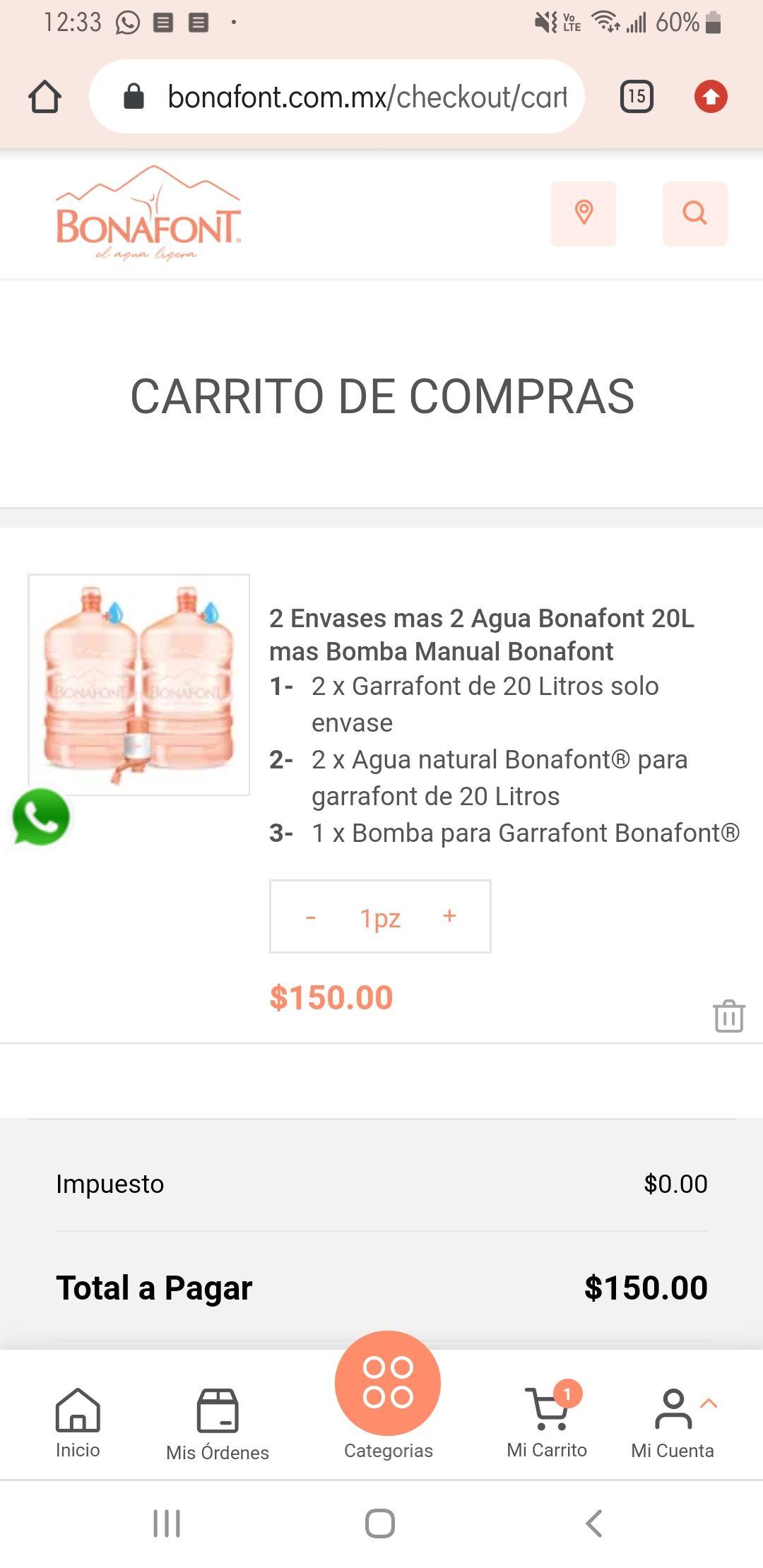PROMO BONAFONT (2 garrafones con bomba de agua manual)