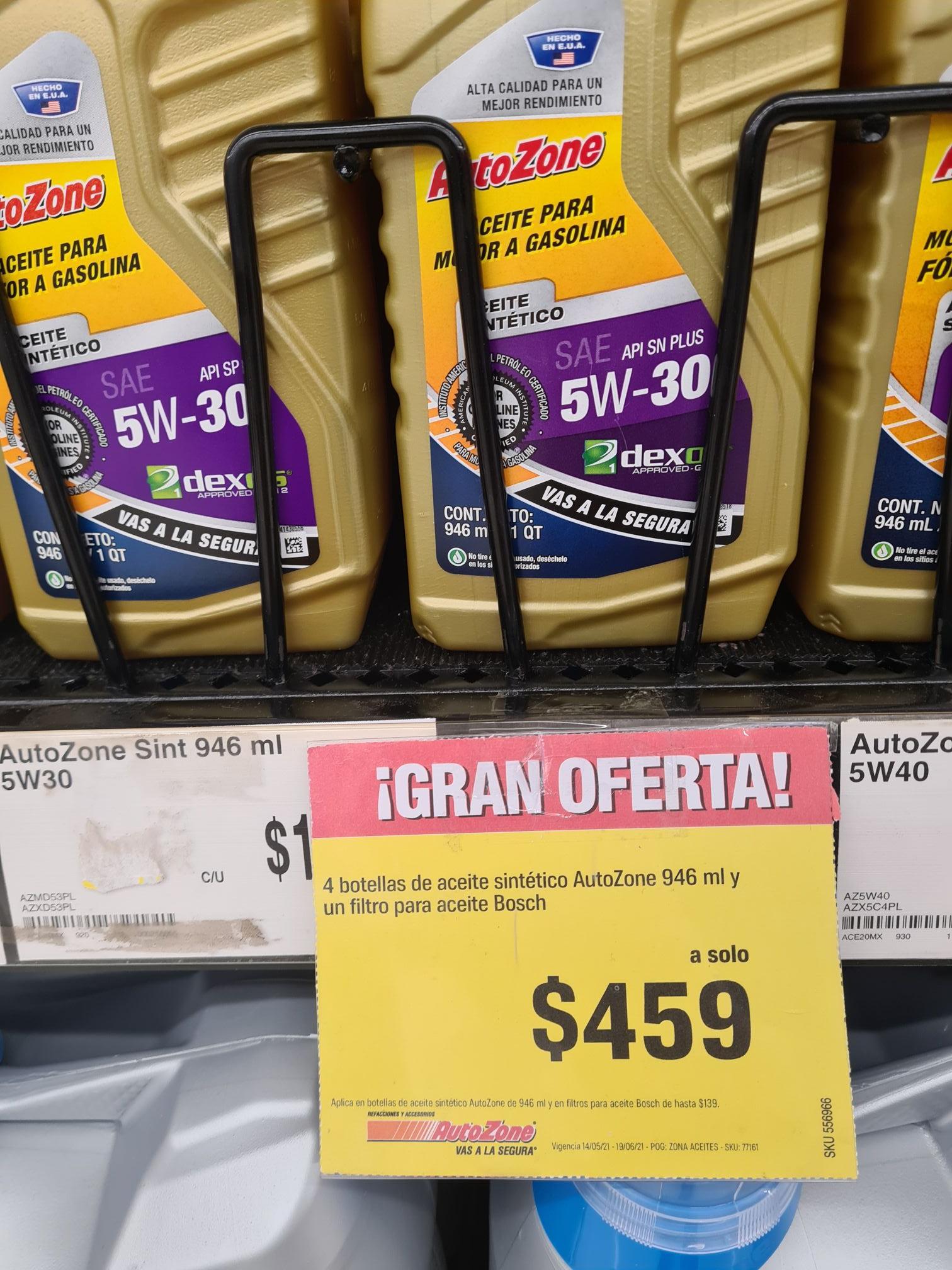 AutoZone: 4 botellas de aceite sintético + filtro Bosch