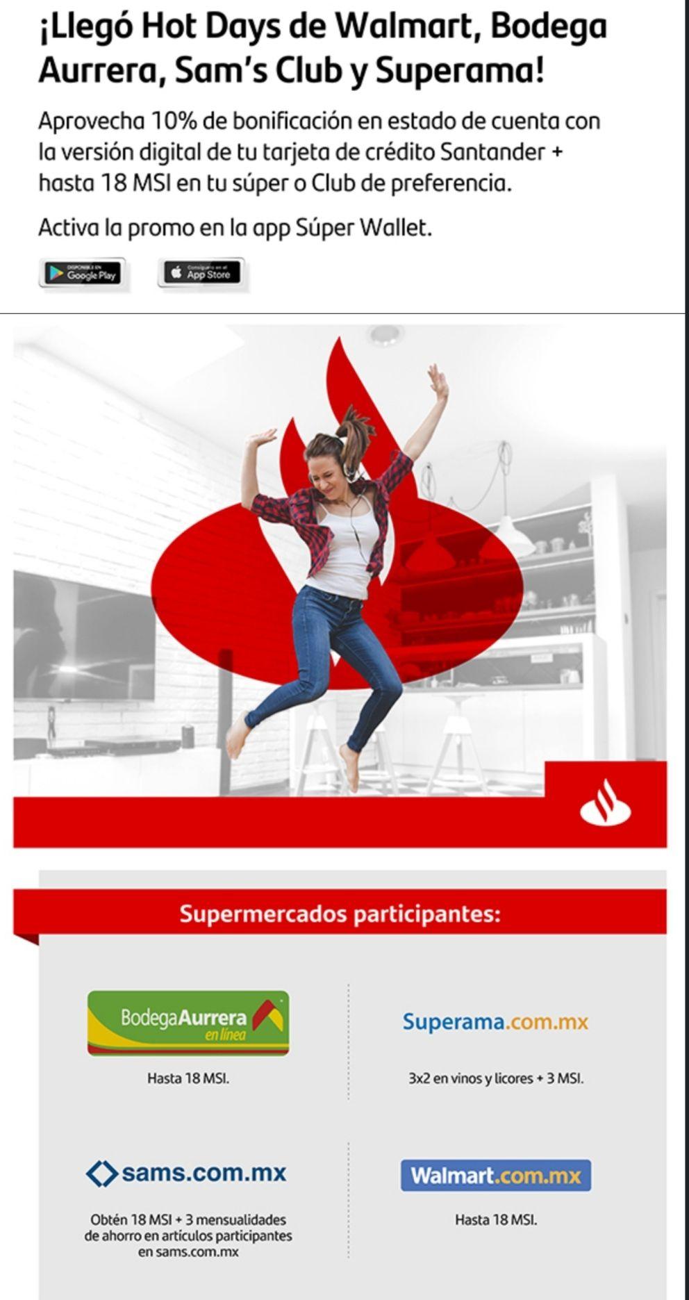 Santander 10% adicional en bonificación Hot Days, primeros 6,000