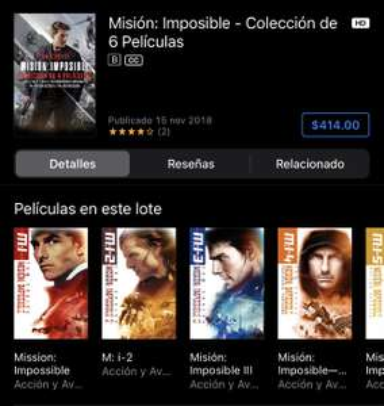 iTunes: Misión: Imposible - Colección de 6 Películas o c/u por $69 4K + Dolby Vision + iTunes Extras