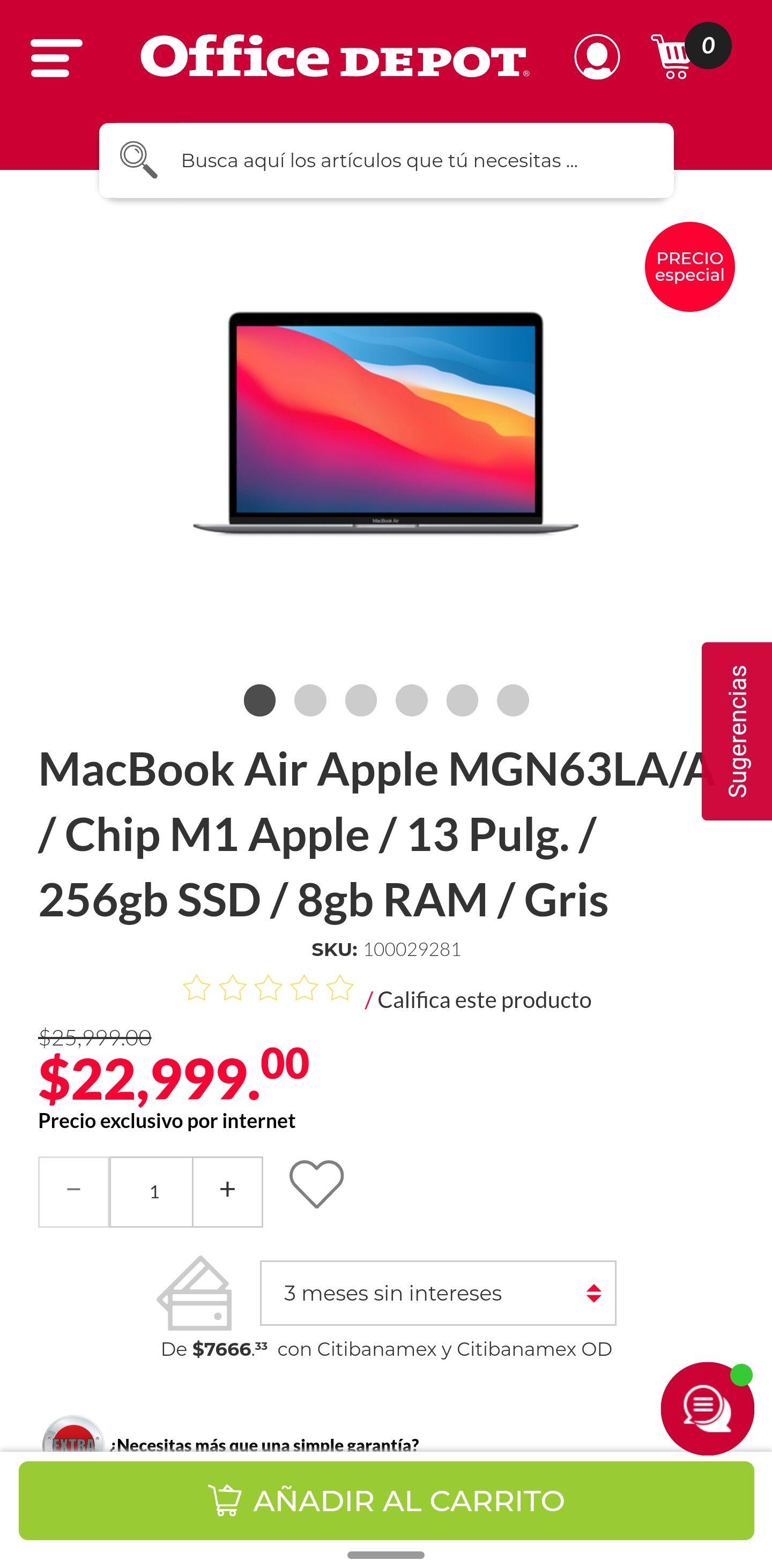 OfficeDepot | Macbook Air M1 256 GB | CON PROMOCIONES BANCARIAS BANORTE, BBVA, CITIBANAMEX