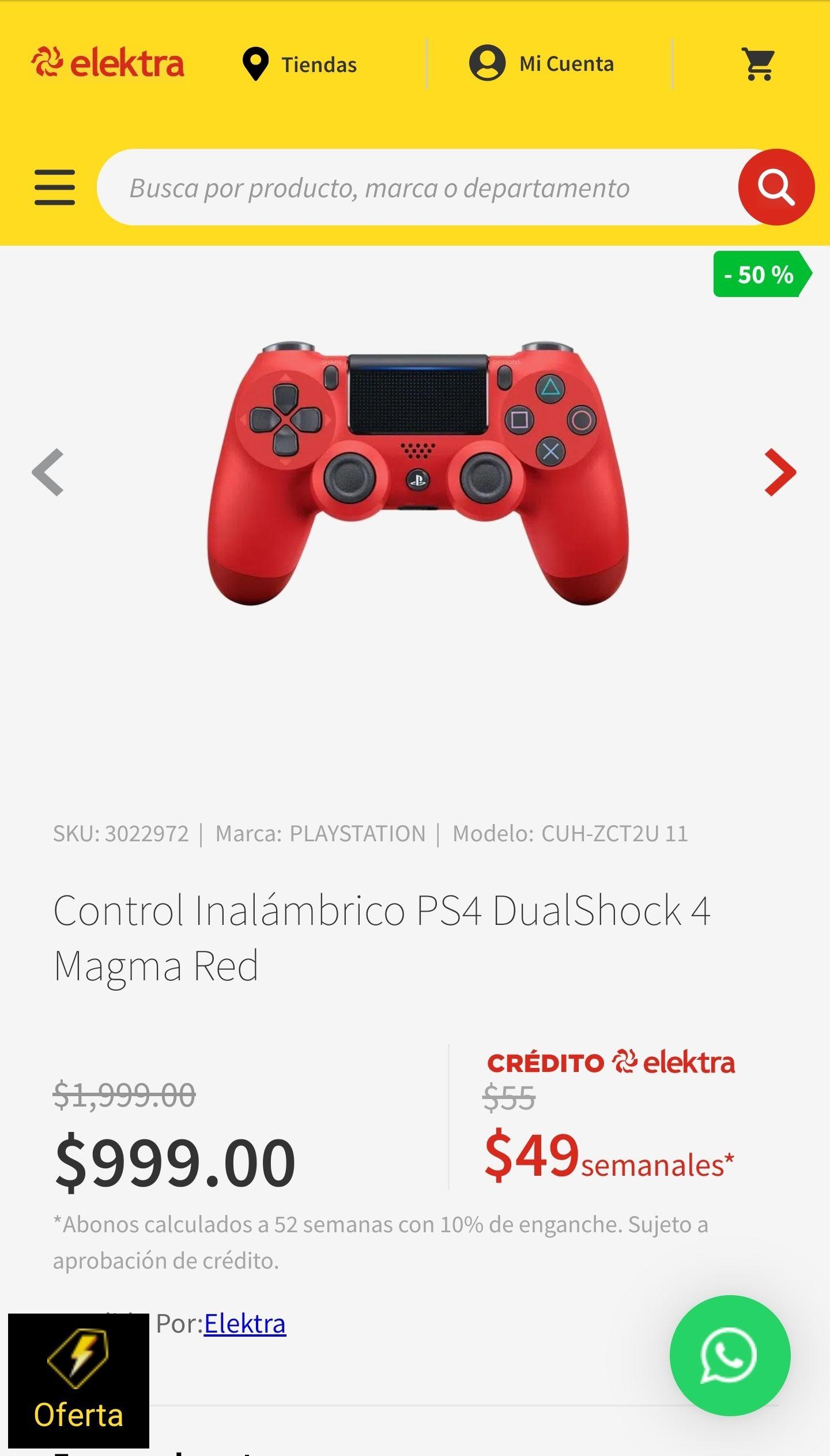 Elektra: Control Inalámbrico PS4 DualShock 4 Magma Red