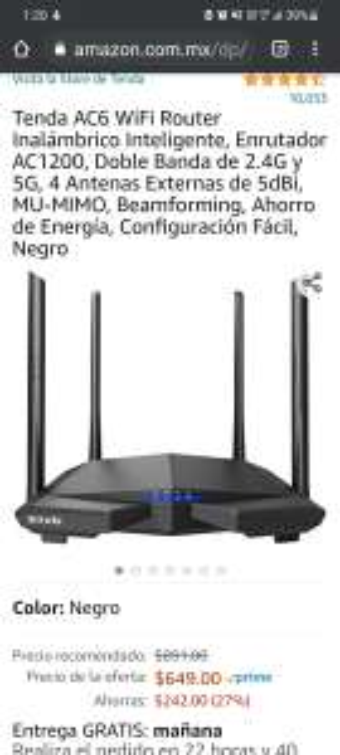 Amazon: Tenda AC6 WiFi Router Inalámbrico Inteligente, Enrutador AC1200, Doble Banda de 2.4G y 5G, 4 Antenas Externas de 5dBi, MU-MIMO