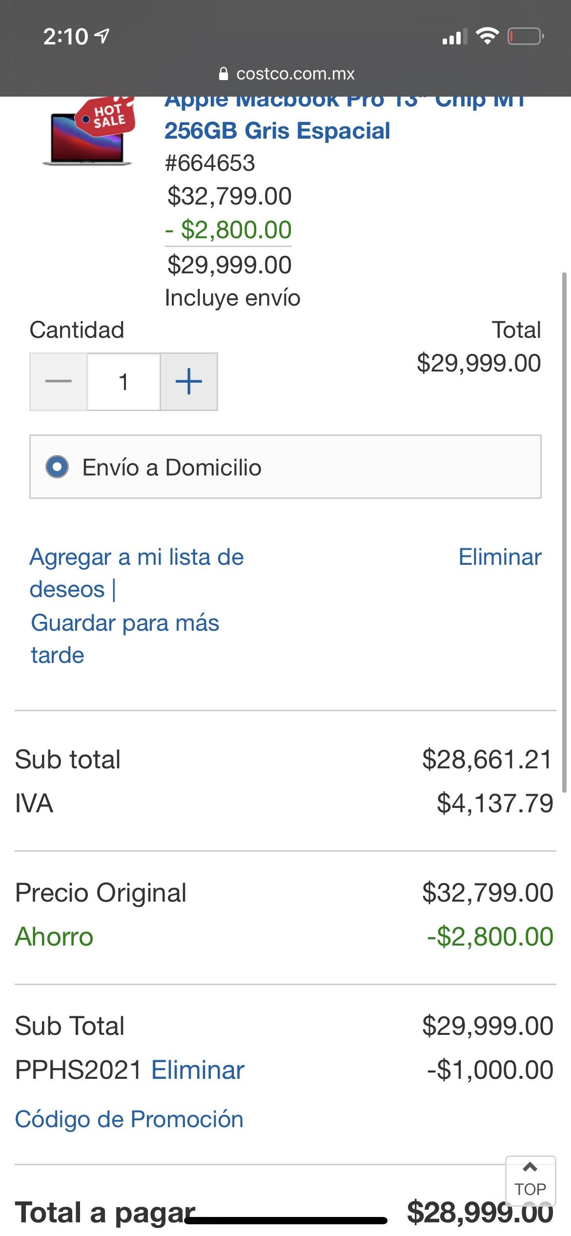 Costco: MacBook Pro M1 256gb (BBVA+cupón)