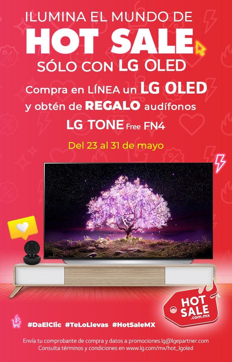 Hot Sale LG: Audífonos LG TONE free FN4 gratis al comprar una pantalla OLED