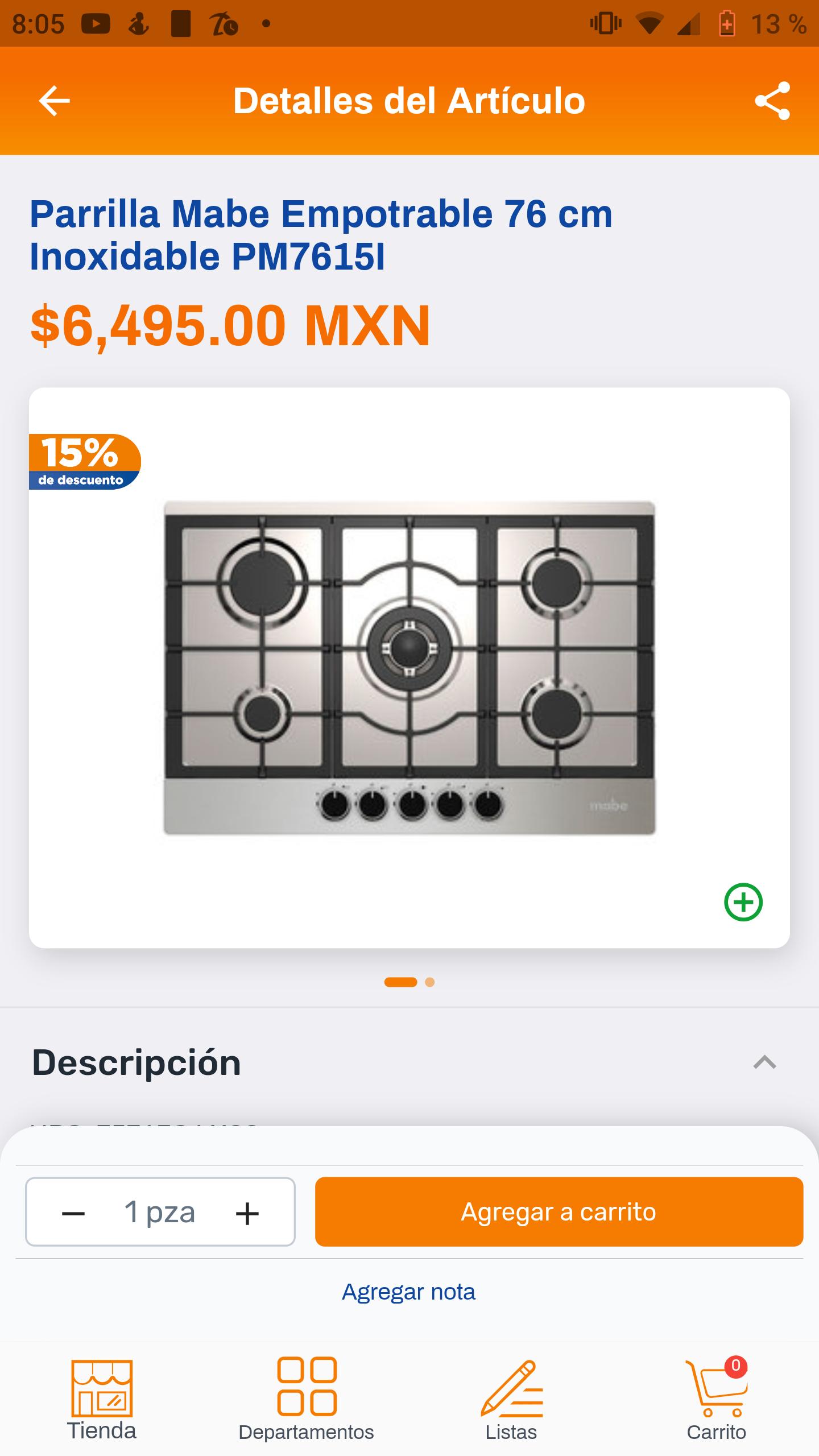 Chedraui: Parrilla mabe $4692.00 + $828.00 en monedero