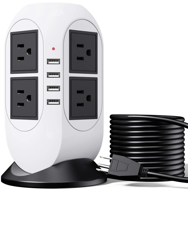 Amazon: Cable de extensión de protección contra sobretensiones de 5 m con 4 puertos USB + 8 tomas de corriente CA