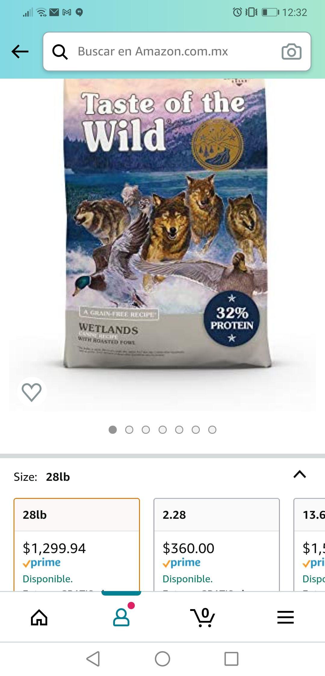 Amazon: Taste of the wild wetlands 28 lb