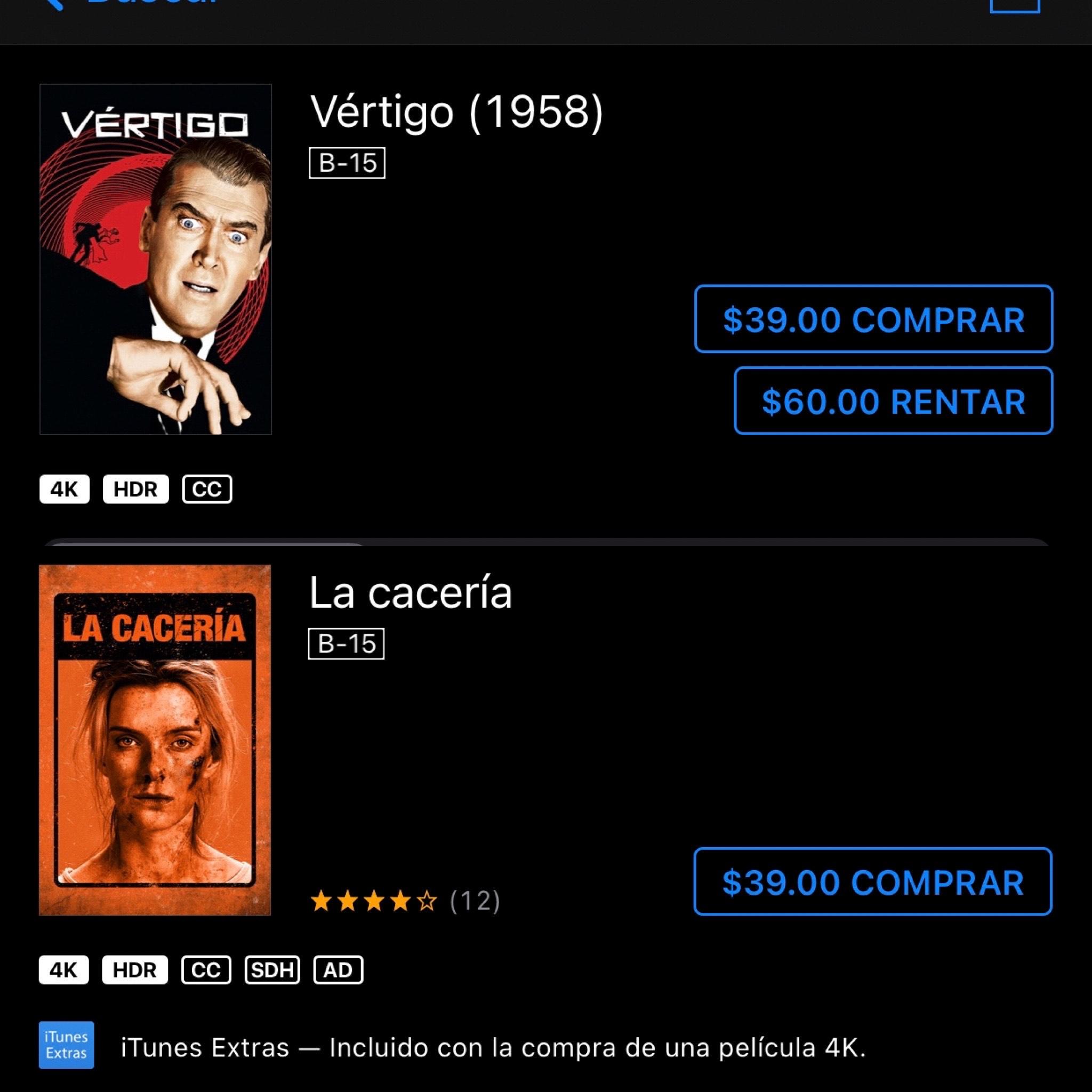 iTunes: La cacería 4K/ Vértigo 4K