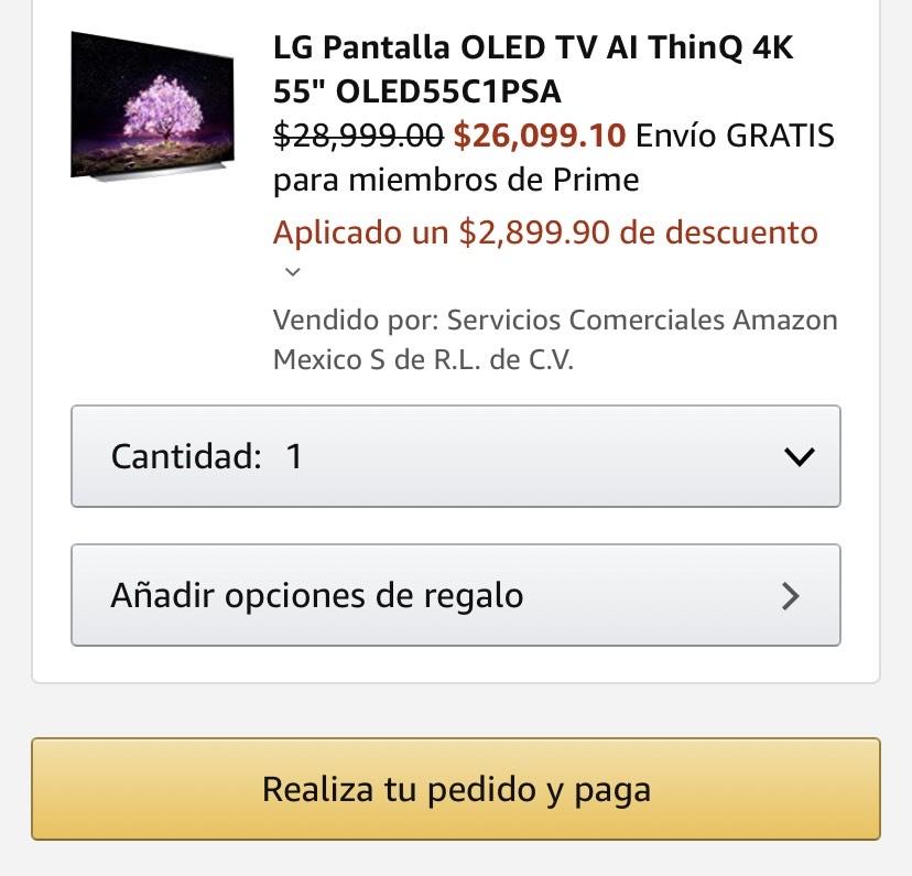 """Amazon: LG Pantalla OLED TV AI ThinQ 4K 55"""" OLED55C1PSA"""