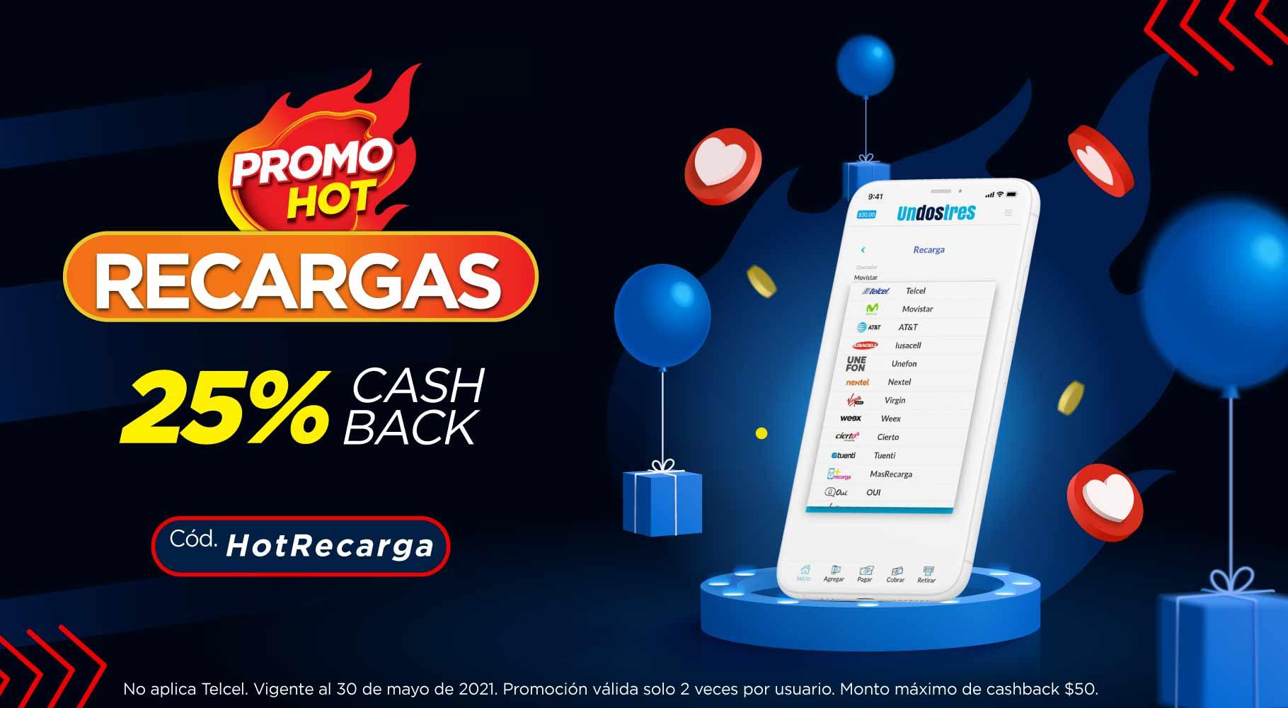Undostres 25% de cashback en recargas (no aplica Telcel)