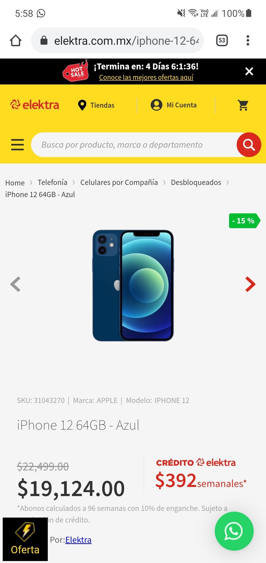 Elektra: iPhone 12 64GB Azul - pa qué andes a la moda TDC digital BBVA