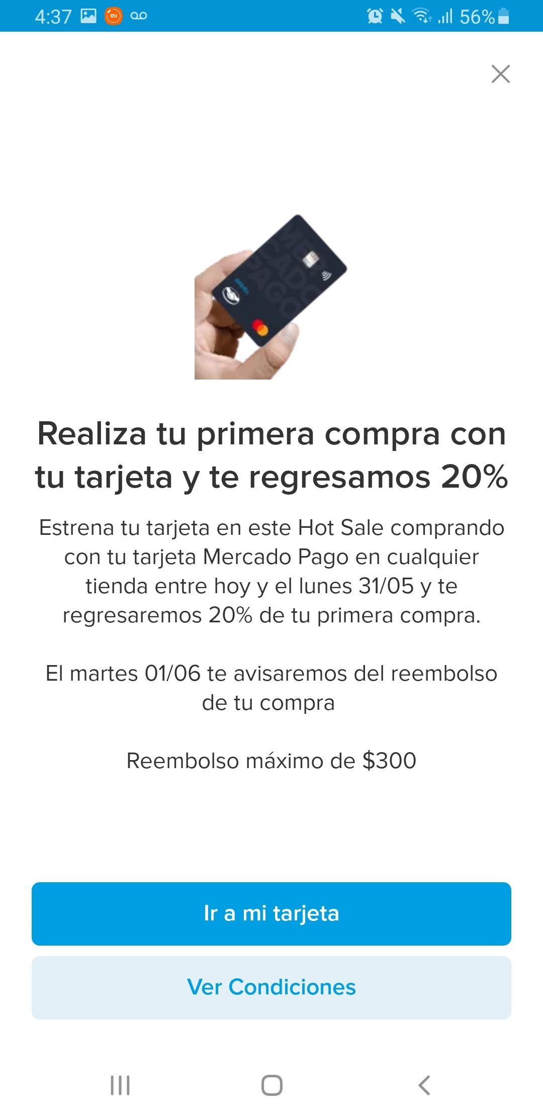 Mercado pago: 20% rembolso en tu primer compra del hot sale con tarjeta Mercado Pago, máximo $300