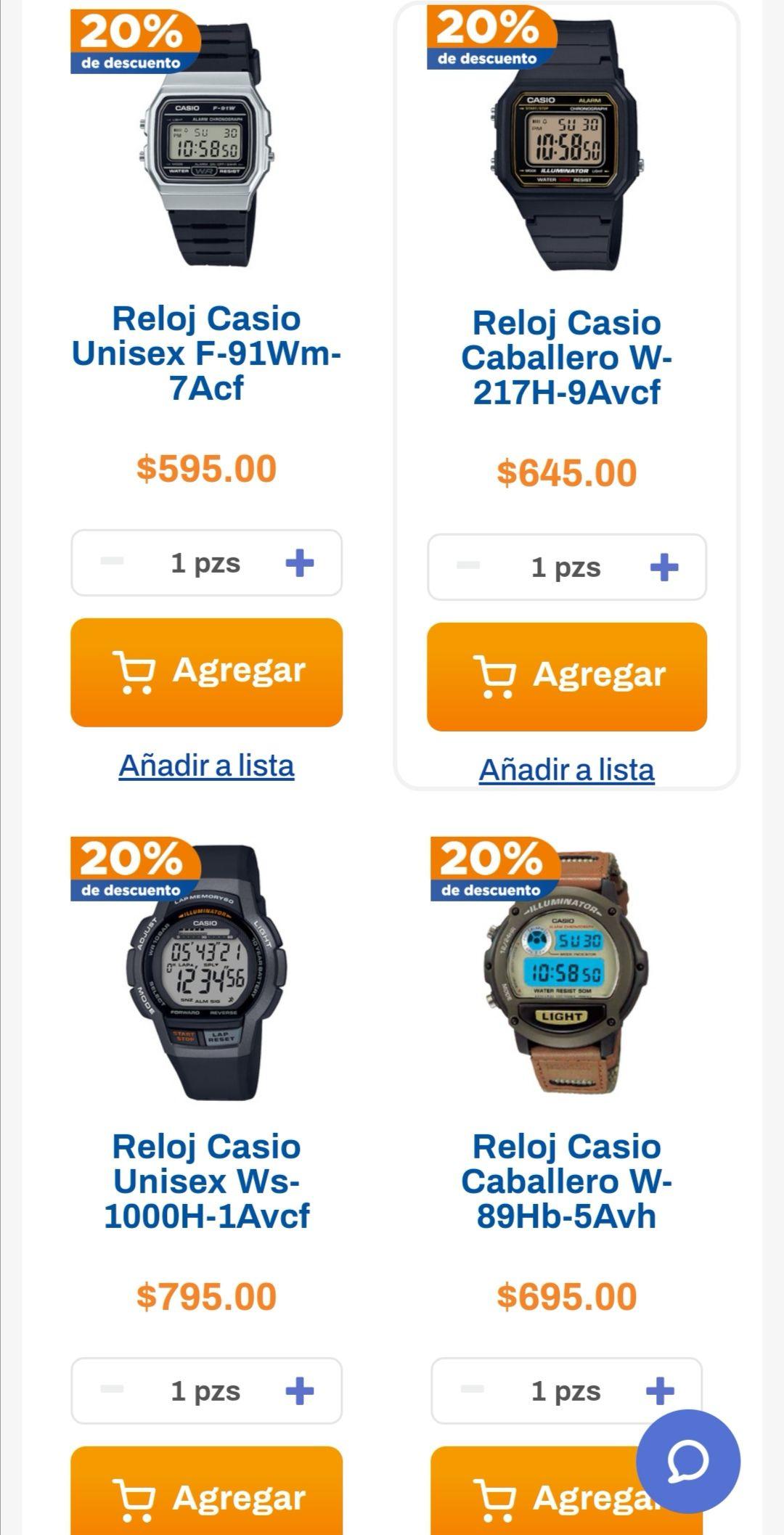 Chedraui: 20% de descuento en relojes Casio