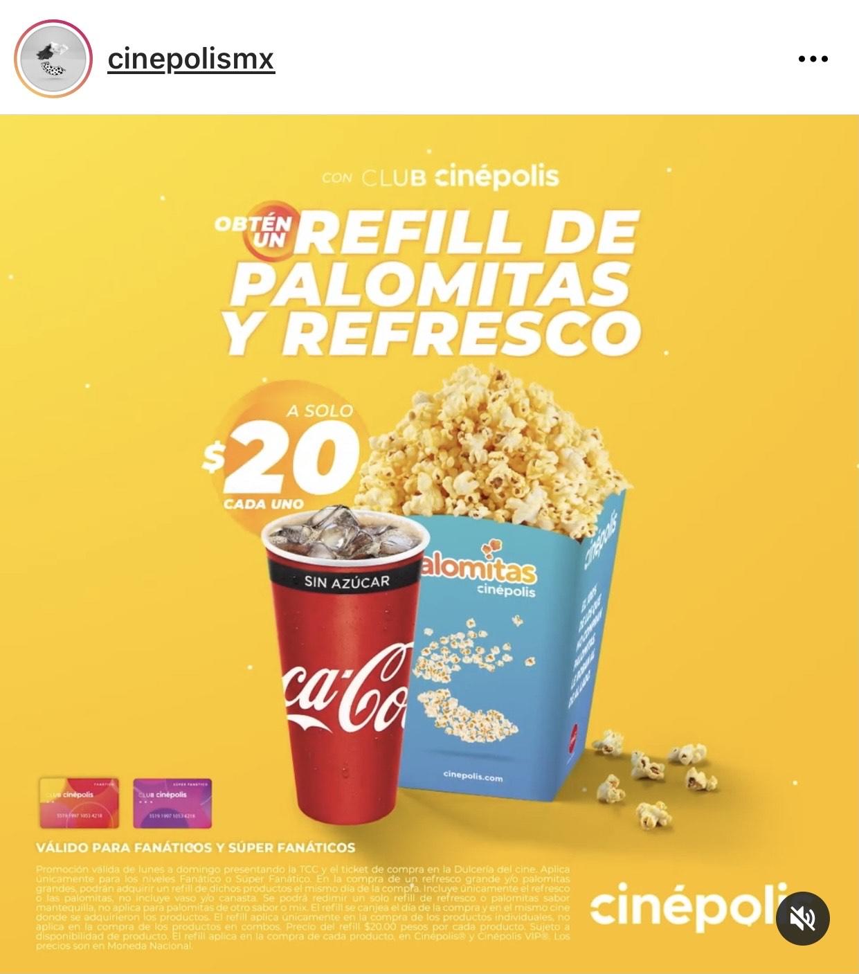 Cinépolis: Palomitas y refresco refill a $20