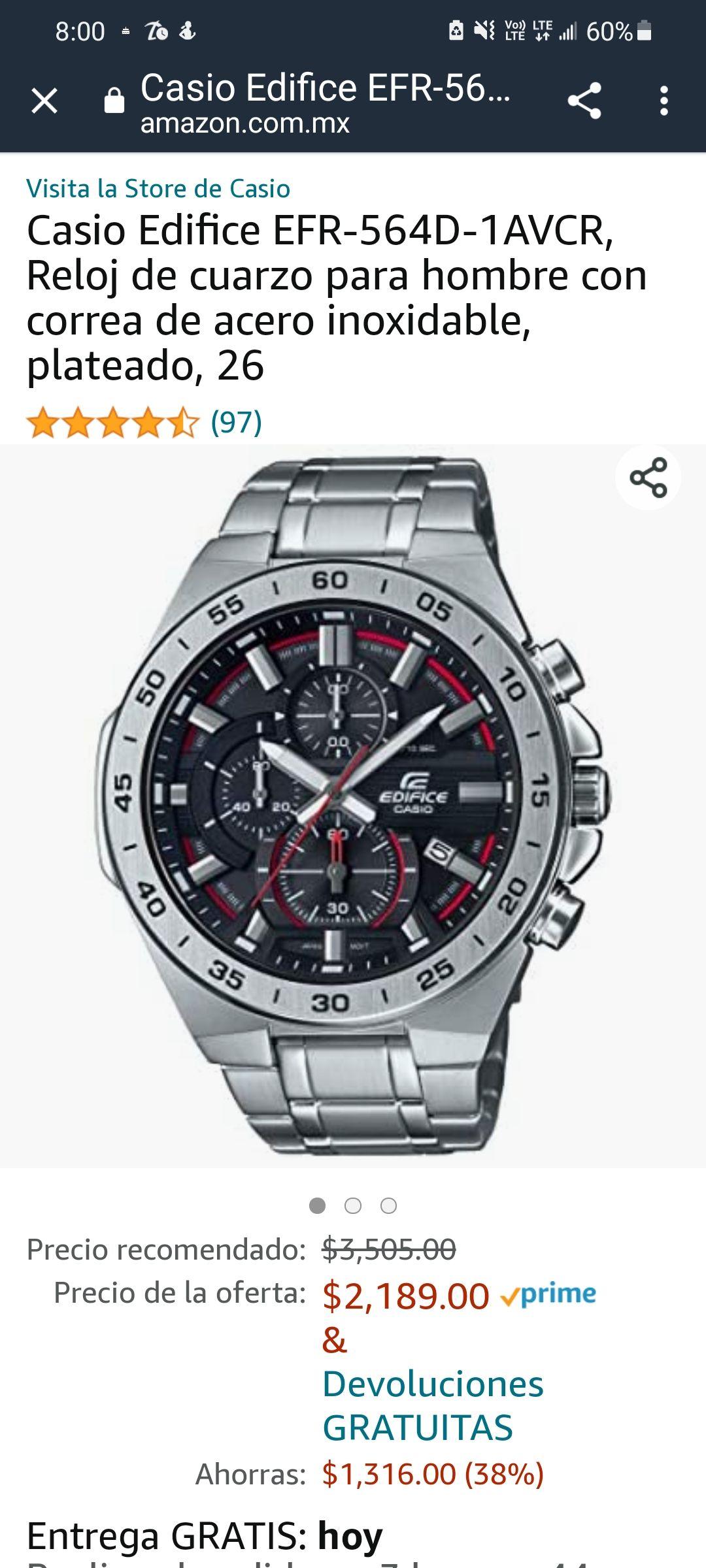 Amazon: Casio Edifice EFR-564D-1AVCR, Reloj de cuarzo para hombre con correa de acero inoxidable