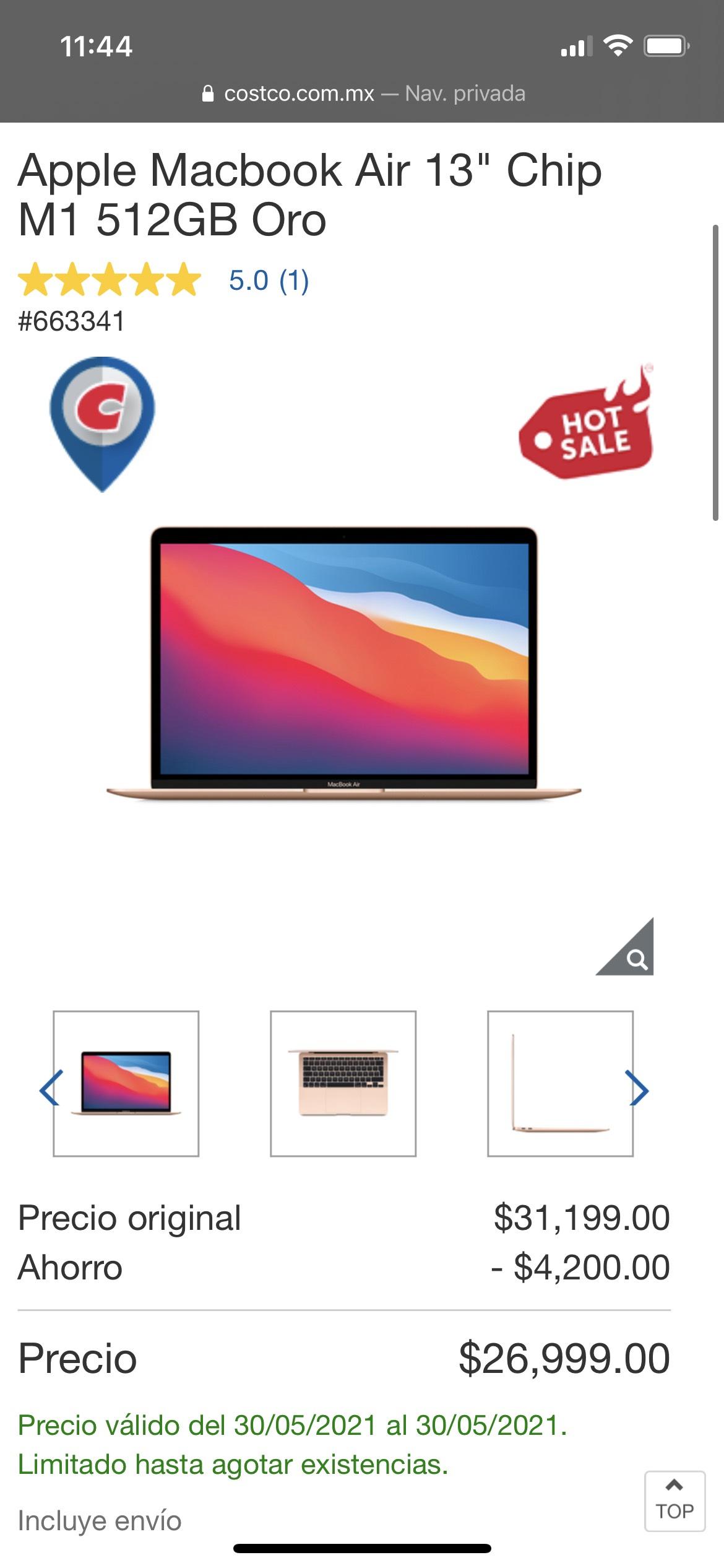 """Costco: Apple Macbook Air 13"""" Chip M1 512GB Oro con Citibanamex"""
