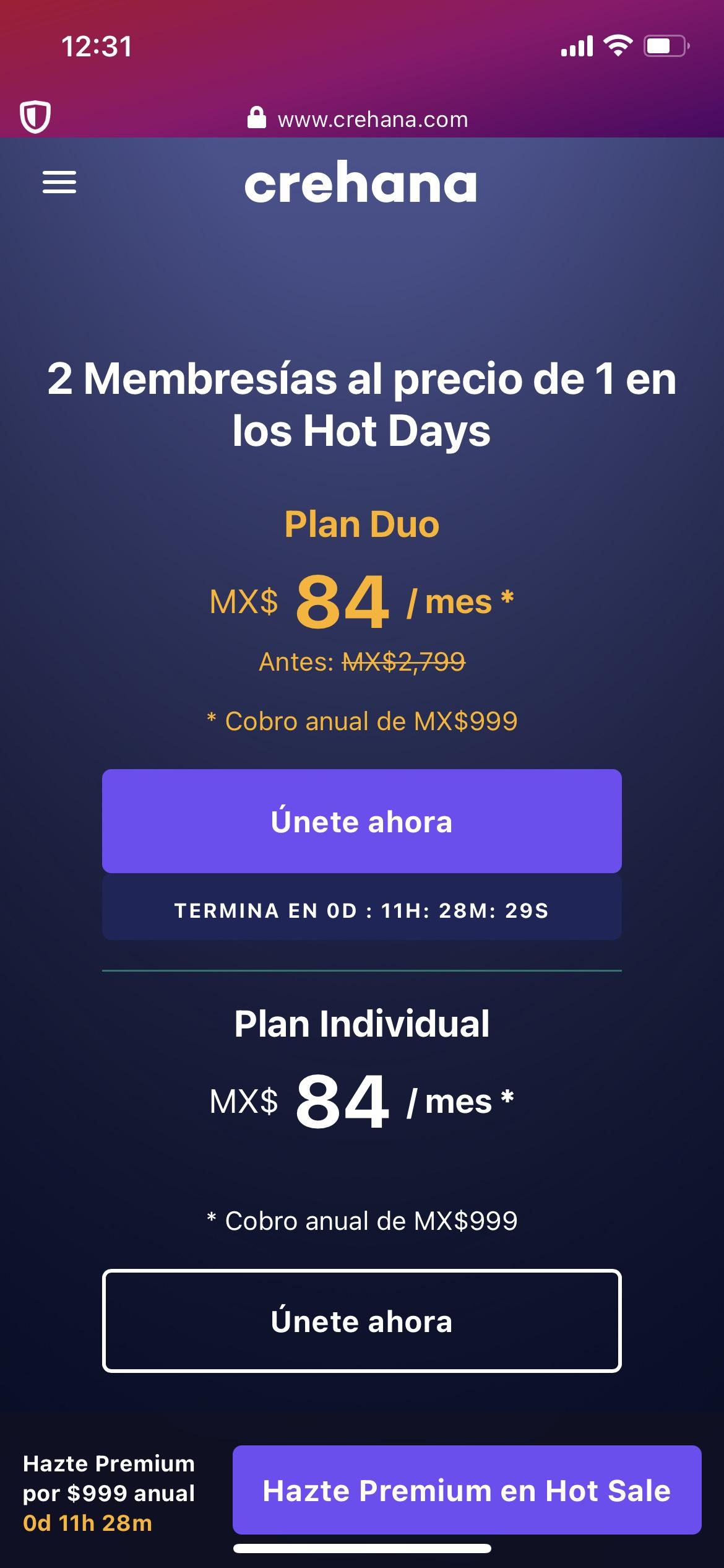 Crehana 50% Hot Days Membresía dúo