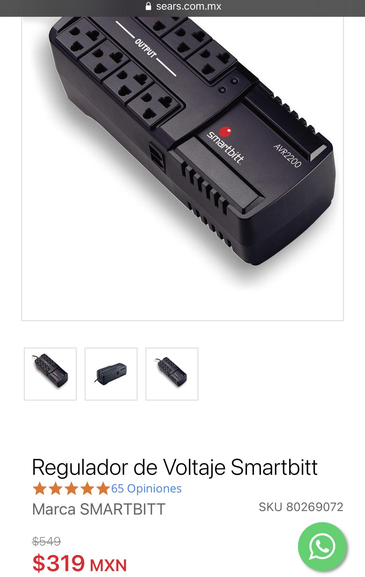 Sears: Regulador de Voltaje Smartbitt 2200 VA