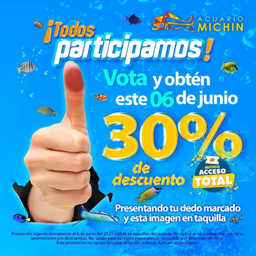 Acuario Michin Puebla 30% de descuento el 6 Junio al presentar tu dedo marcado