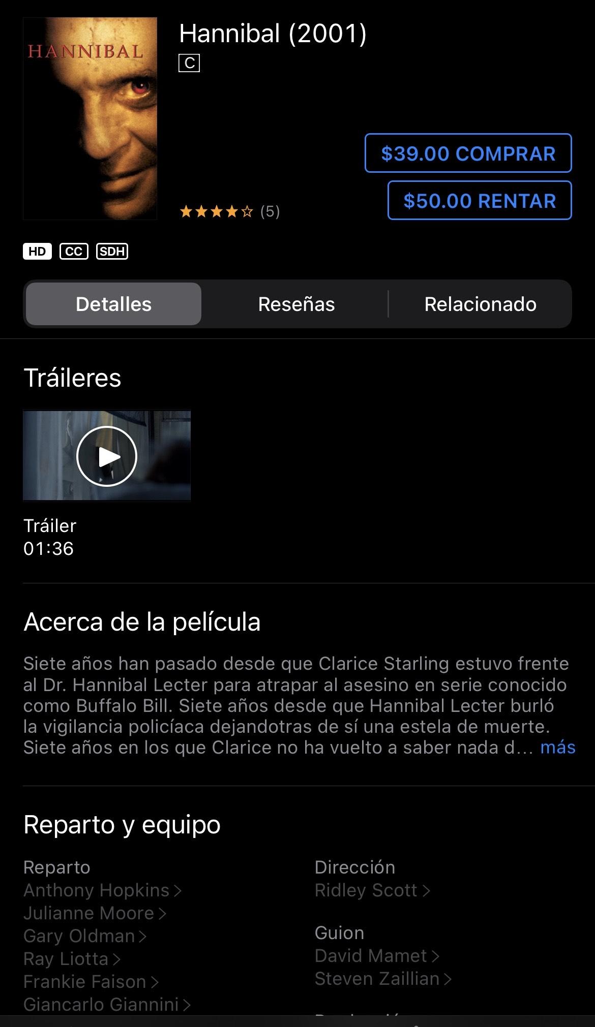 iTunes: Hannibal por Ridley Scott