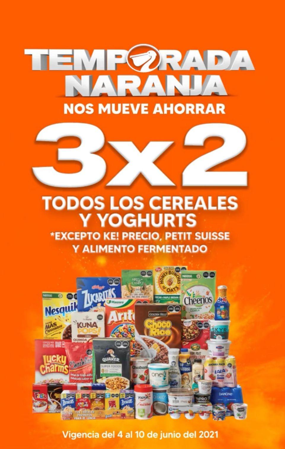 La Comer y Fresko: 1° Oferta Estelar Temporada Naranja 2021: 3 x 2 en todos los cereales y yoghurts
