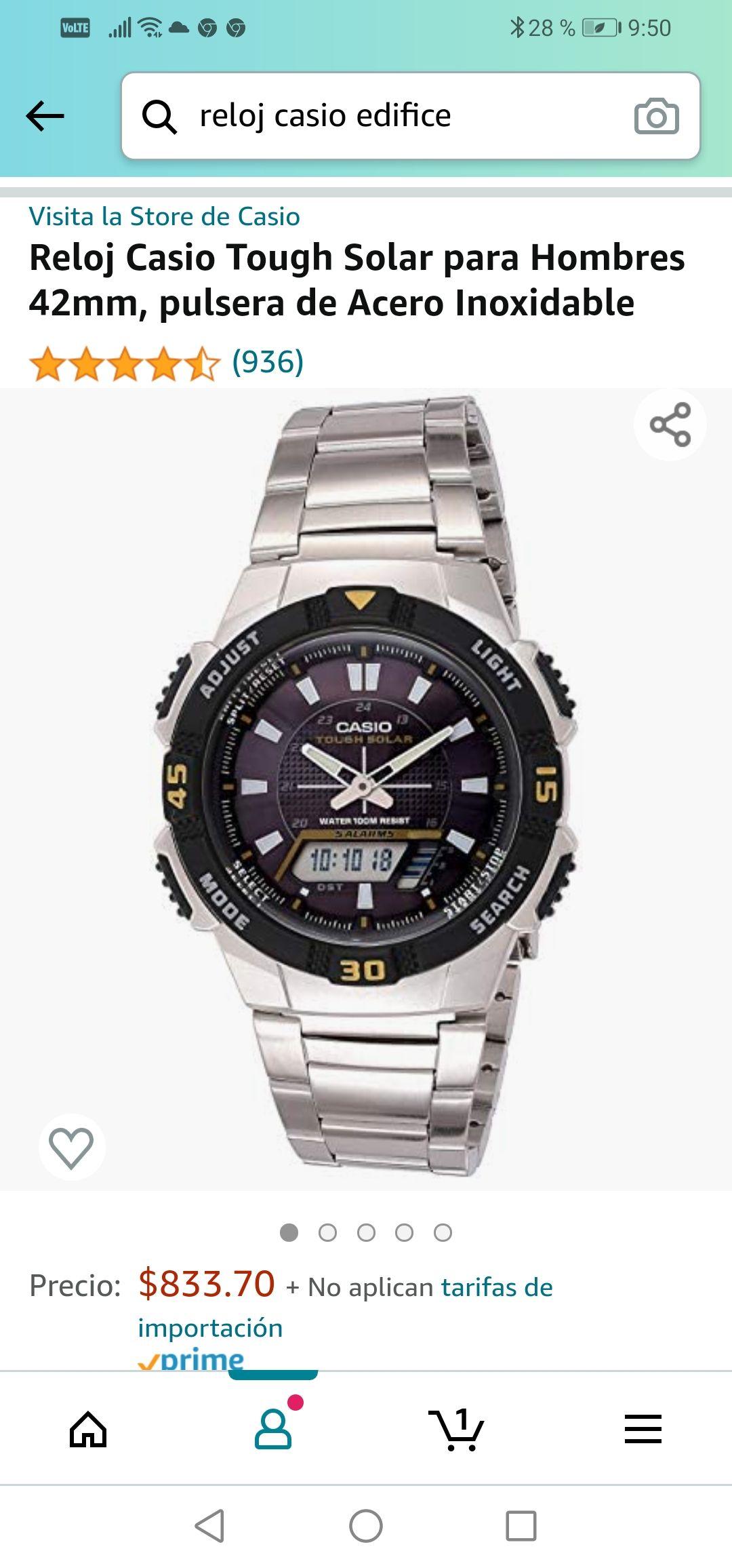 Amazon: Reloj Casio Tough Solar para Hombres 42mm, pulsera de Acero Inoxidable