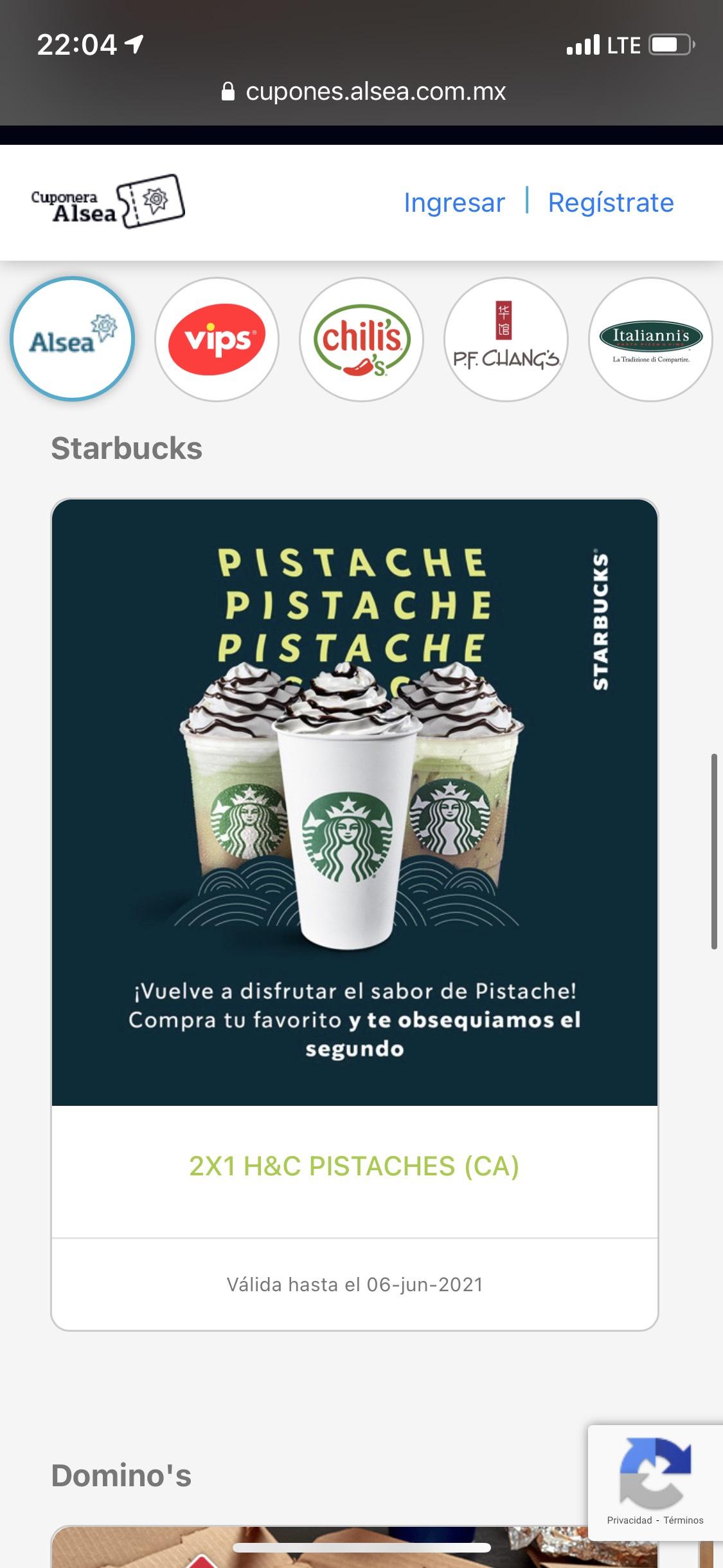 Starbucks 2X1 H&C PISTACHES