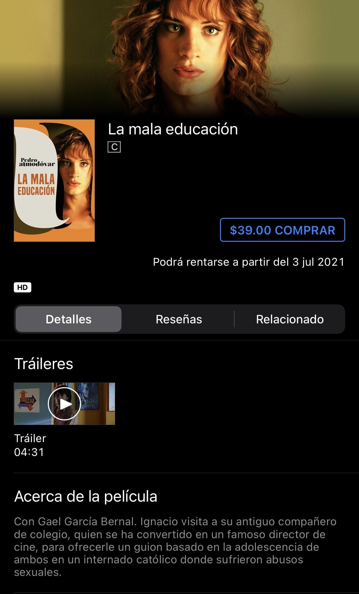iTunes: La mala educación / Pedro Almodóvar