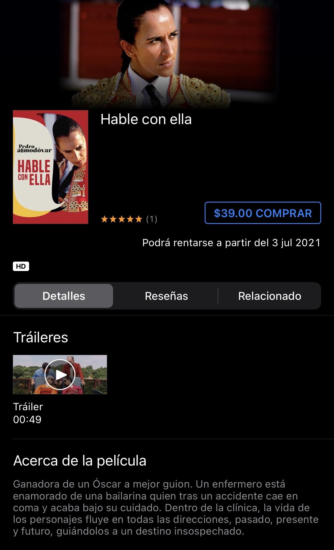 iTunes: Hablé con ella / Pedro Almodóvar