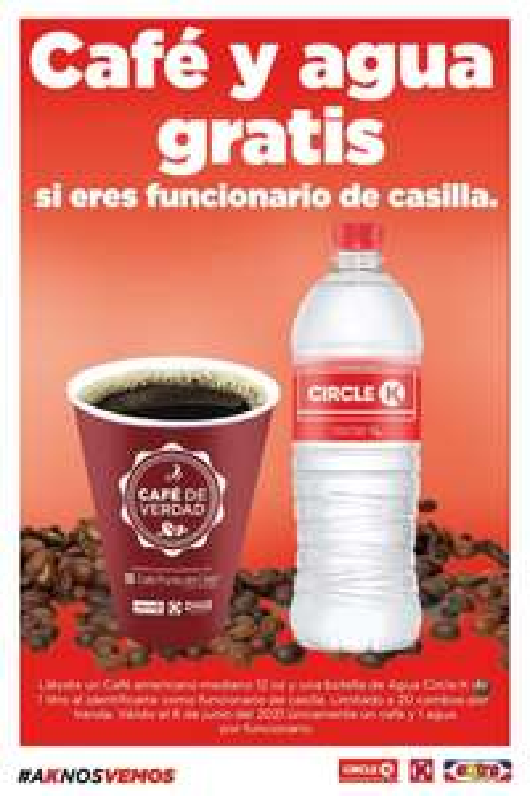 Circle K: Gratis café y agua si eres funcionario de casilla.