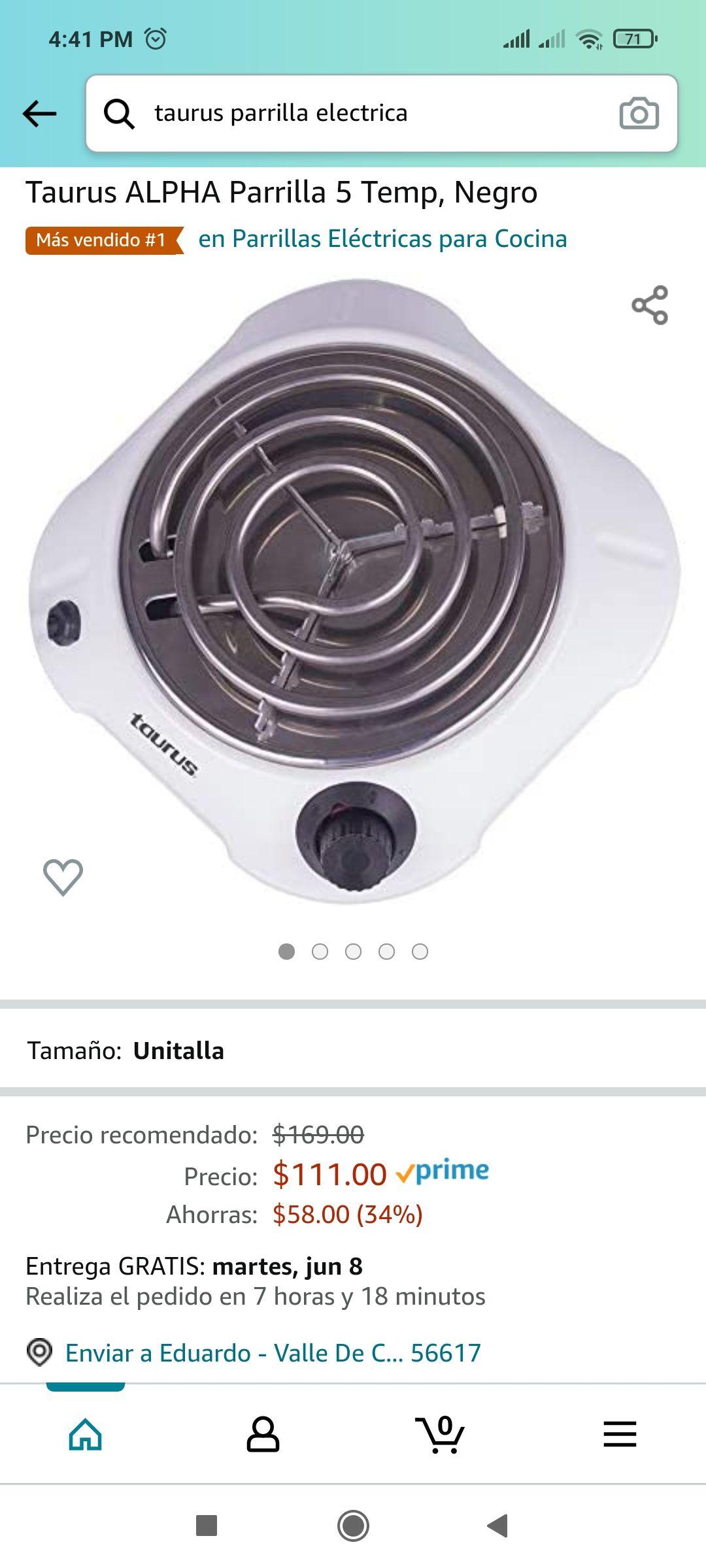 Amazon: Parrilla electrica Taurus - minimo en amazon segun keepa