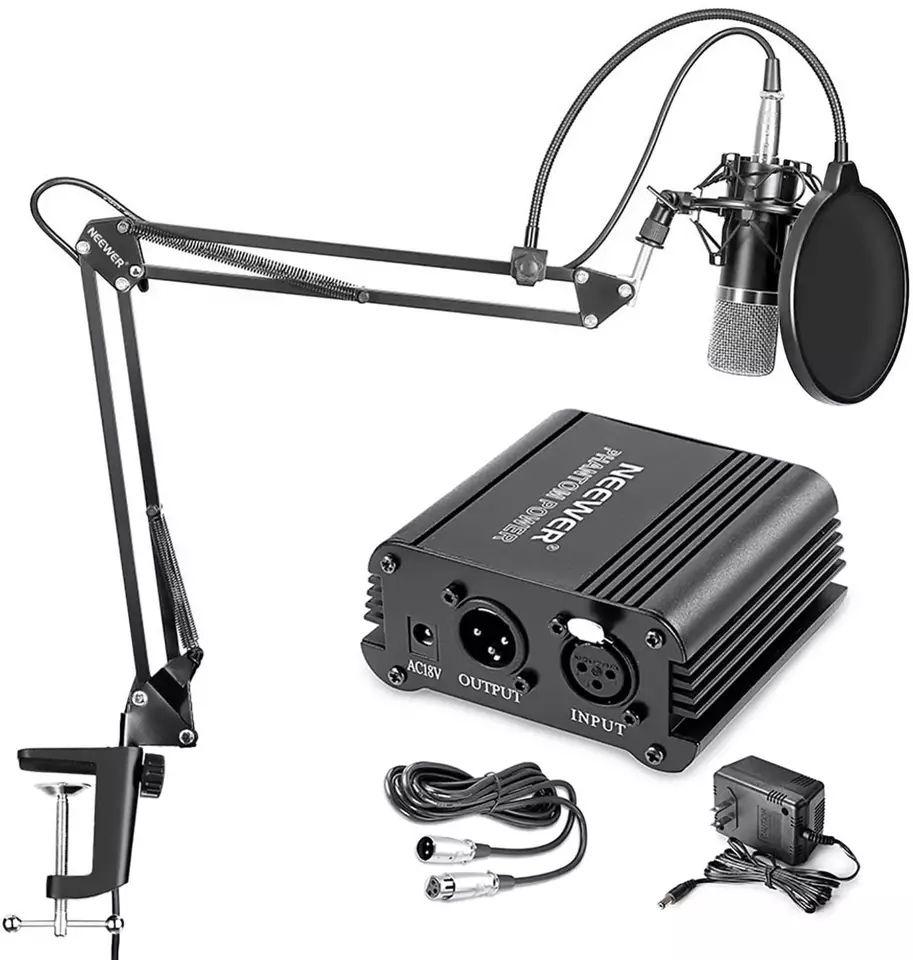 Kit Micrófono NW-700, soporte de brazo de tijera, con abrazadera de montaje y fuente de alimentación fantasma de 48V