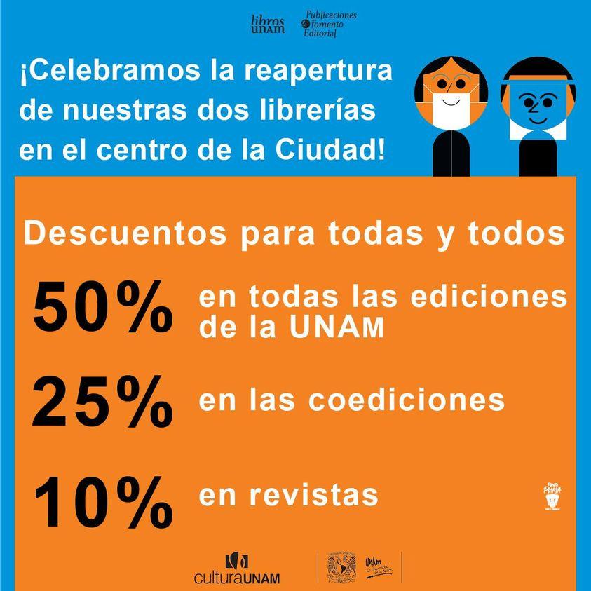 Hasta 50% de descuento en librerías UNAM