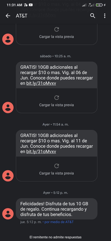 AT&T : GRATIS 10GB adicionales al recargas $10 o mas