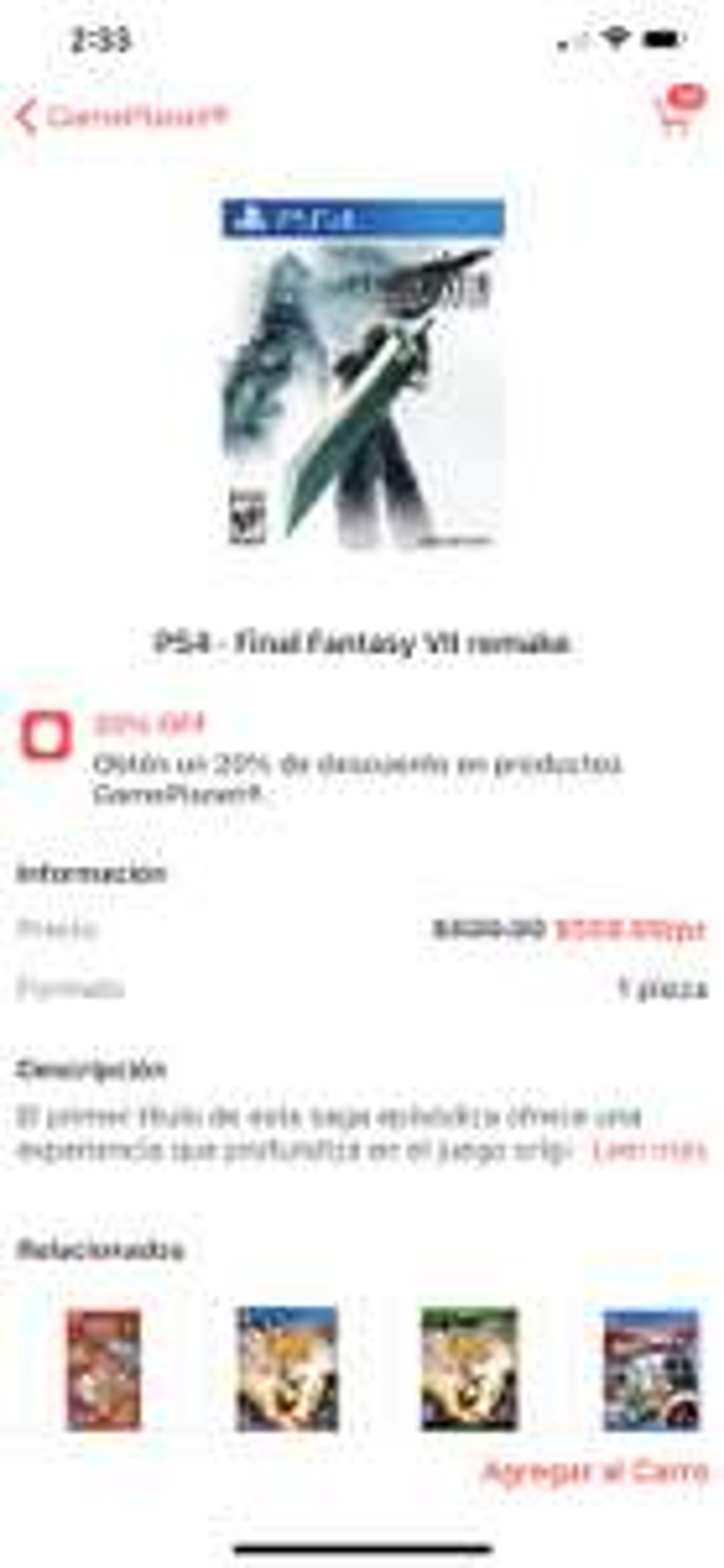 [CornerShop + Gameplanet] Final Fantasy VII Remake PS4