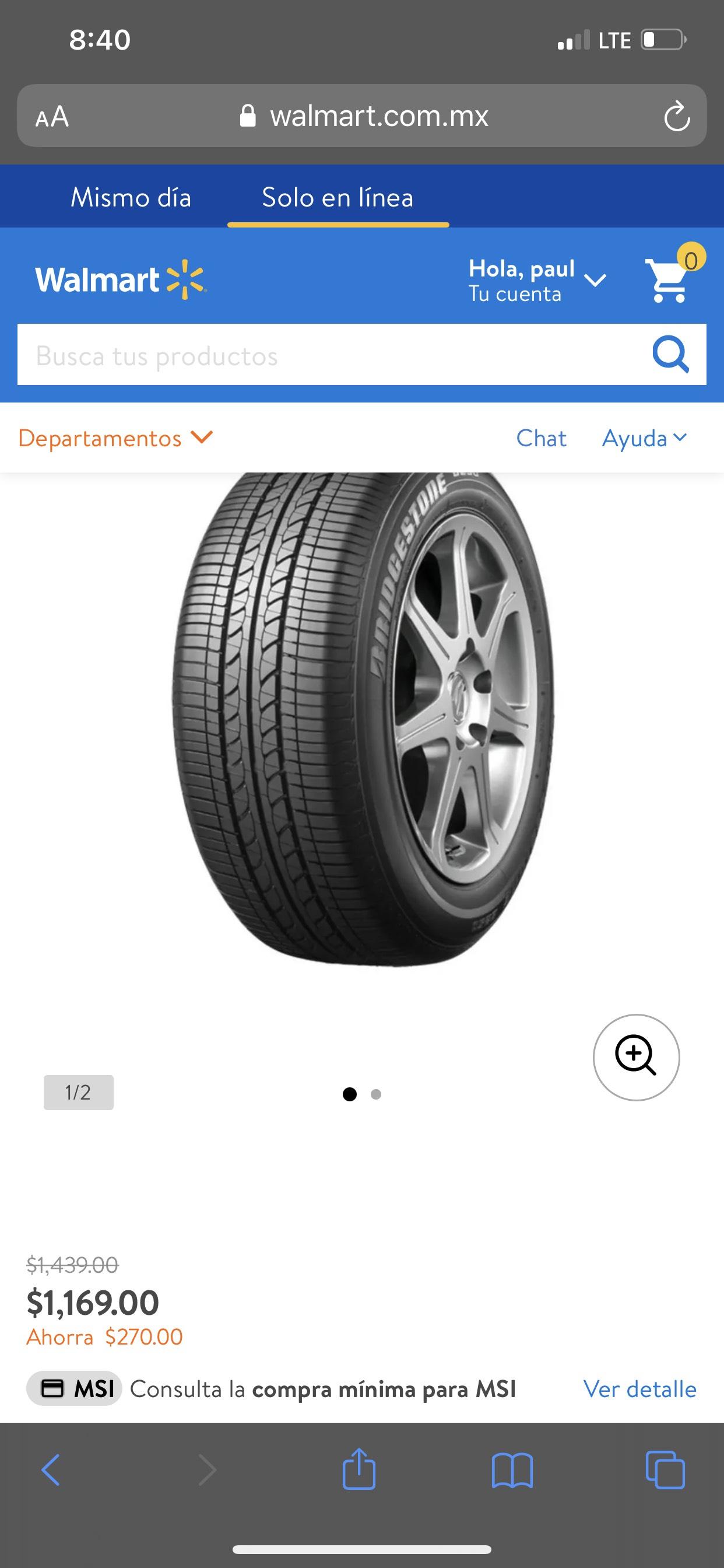 Walmart: Llanta b250 en oferta