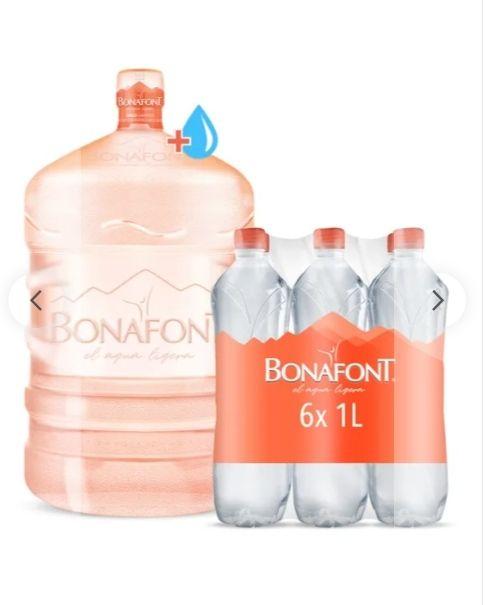 Bonafont: Garrafón + líquido + 6 botellas 1L