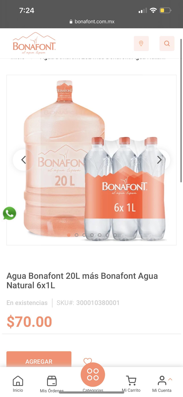 Bonafont: Garrafón + Liquido + 6 Botellas 1 L