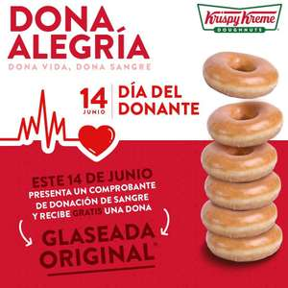 Krispy Kreme: Dona GRATIS con Comprobante de Donación de Sangre (mayo y junio)