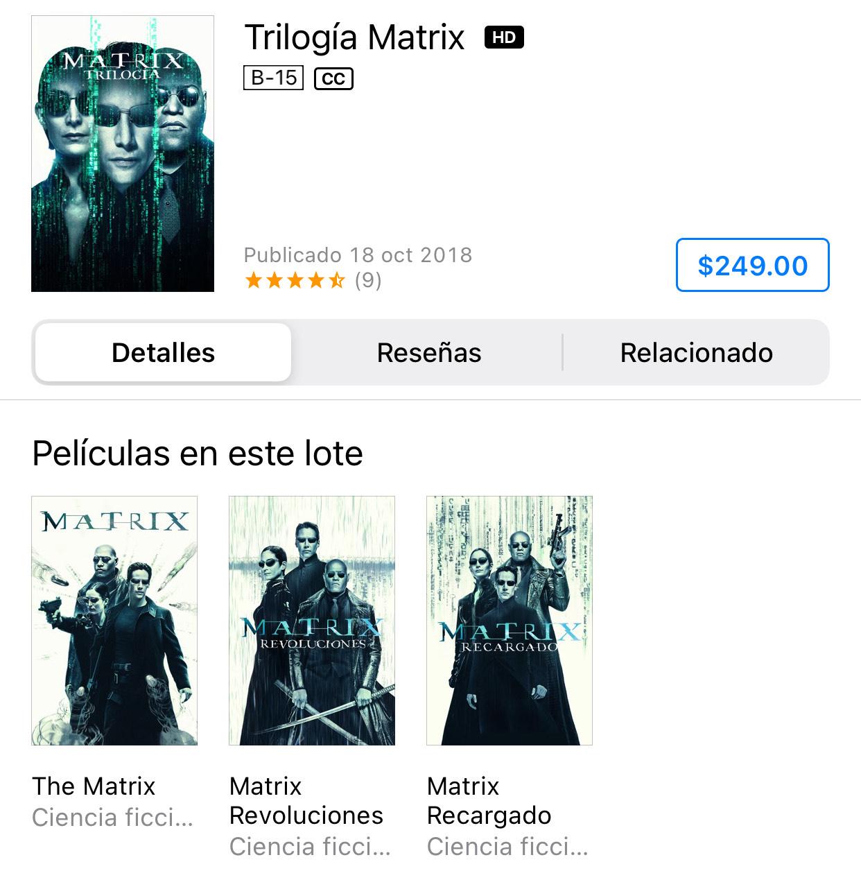 iTunes: Trilogía Matrix 4K