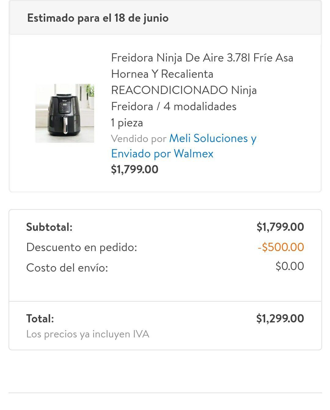 Walmart: Freidora de aire ninja reacondicionada 3.7 litros