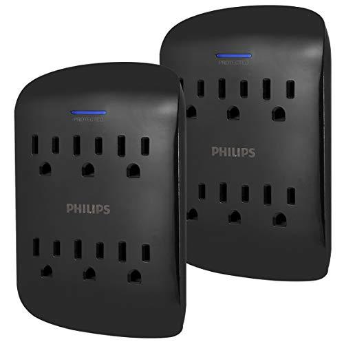 Amazon: Phillips, Protector de sobre tensión, 6 conectores, 900 julios, 2 piezas
