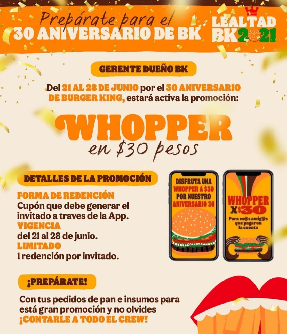 Burger King app, Whooper $30 del día 21 al 28 de junio