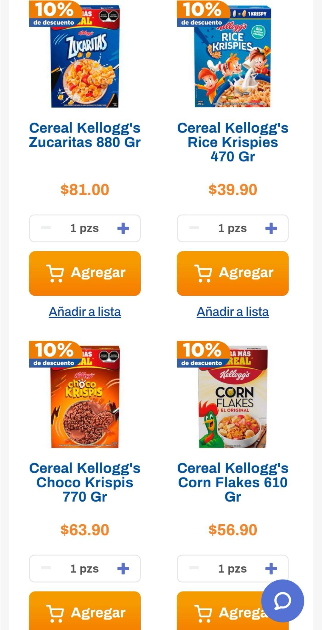 Chedraui: 10% de descuento en cereales Kellogg's (excepto importados)